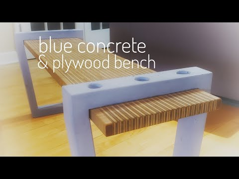 DIY Blue Concrete & Plywood Bench (or Coffee Table) || How to Make || GFRC & Woodworking