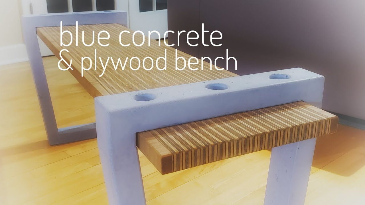 How To Make A Modern Plywood Bench W Blue Concrete Legs Or A Coffee Table Diy Youtube