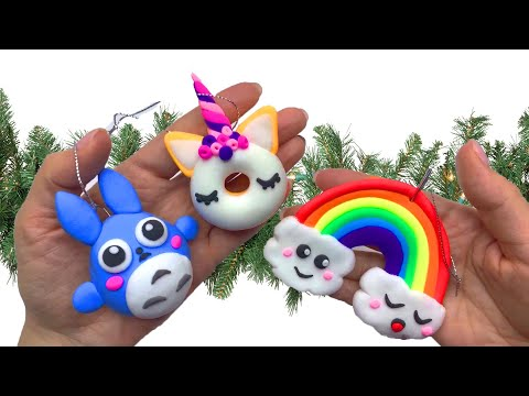 Елочные игрушки из ВОЗДУШНОГО пластилина в стиле КАВАИ // Очень ПРОСТО