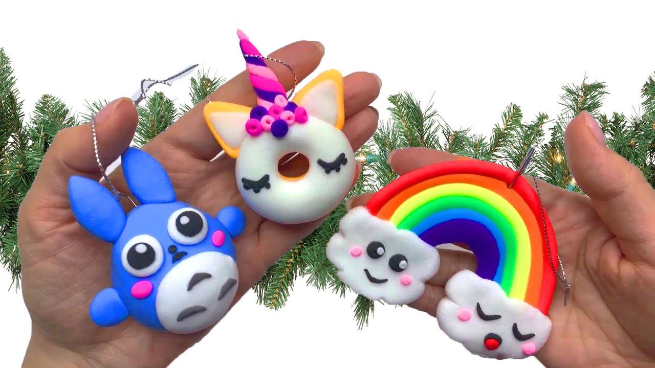 Елочные игрушки из ВОЗДУШНОГО пластилина в стиле КАВАИ ...