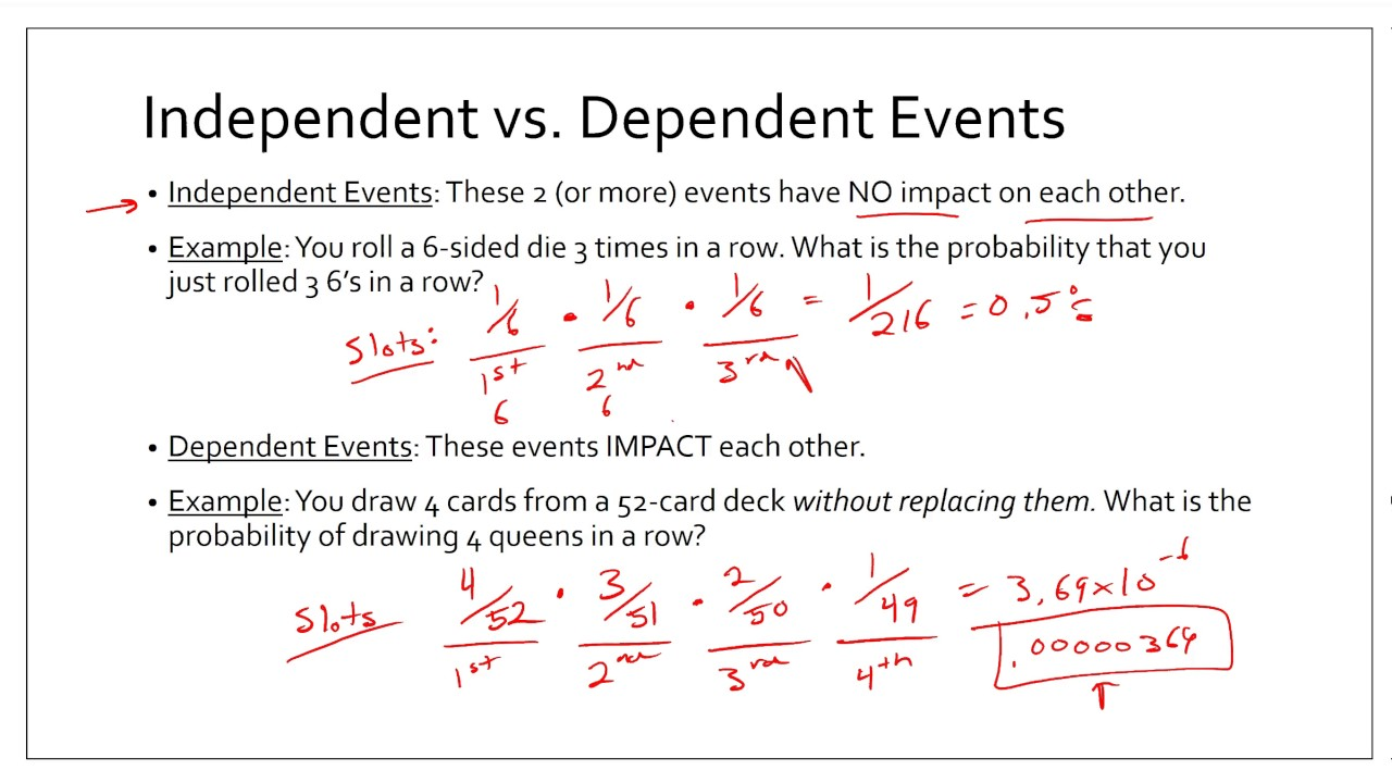 Algebra 2 10 5 Probabilities Of Independent And