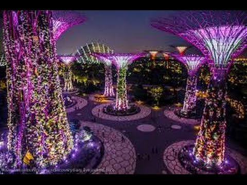 Gardens by The Bay FULL LIGHT SHOW । Singapore HD Video 2016 - YouTube