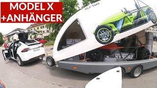 Tesla Model X Zieht Anhänger Mit Anderem Elektrofahrzeug Darin