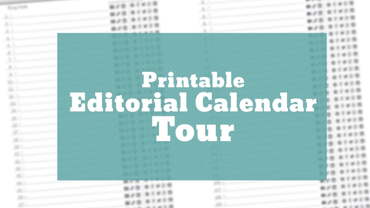 Printable Editorial Calendar Tour Youtube