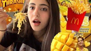 أكلت اكل باللون الأصفر ليوم كامل // أكلت اكل صيني//Eating Only Yellow Food 💛🍌🍋