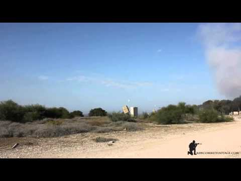 Israel missile defence system intercepting rockets fired fro