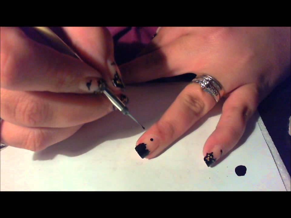 pumpkin silhouettes nail art tutorial