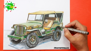 Drawing car Jeep Willys│ speed Draw │Dibujando carrro Jeep Willys