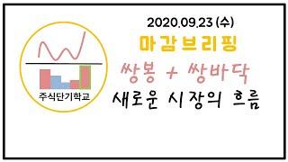 쌍봉+쌍바닥 / 시장의 새로운 흐름 / 마감브리핑 / 1주매매 / 주단기(2020.09.23수)