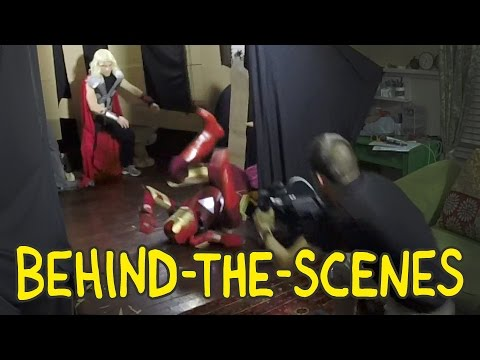 Iron Man vs. Thor vs. Captain America Fight from The Avengers - Homemade Behind the Scenes