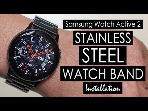 samsung-galaxy-active-2-adjusting-&-installing-stainless-steel-watch-band-40-44mm-(kartice)-[4k]