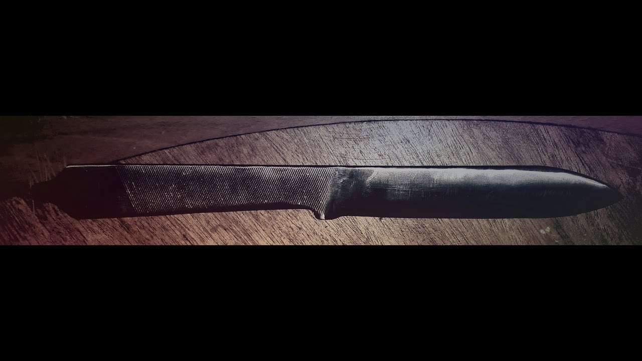 stronge knife from old file first one homemade - YouTube