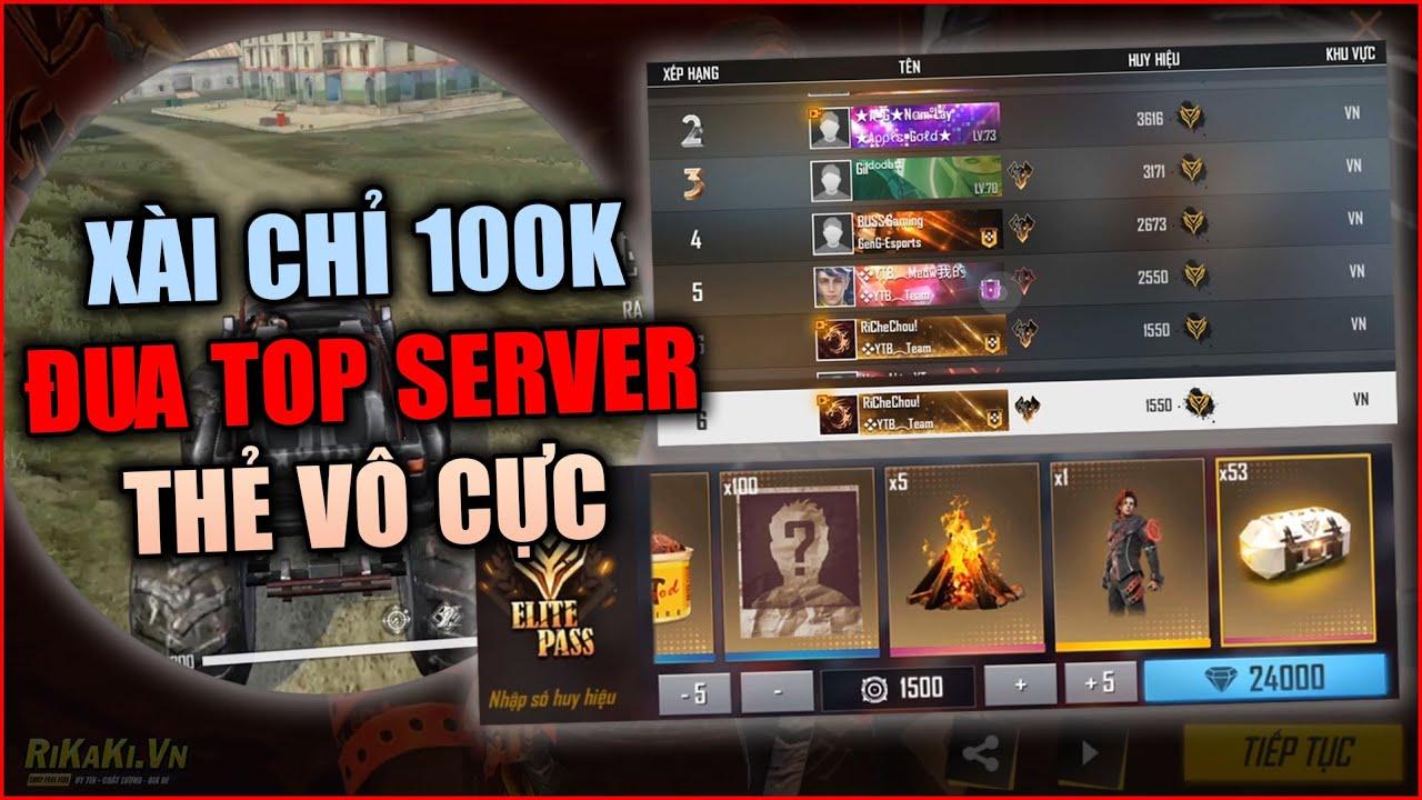 Free Fire | Xài 100K Vẫn Đua TOP Thẻ Vô Cực Căng Đét Giữa Đêm Với Các Streamer Khác | Rikaki Gaming