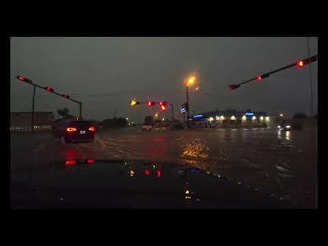 Post, Tx Huge Street flooding and hail  High Precipitation Cell Storm
