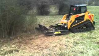 Skid Steer Rotary Brush Cutter Mowing thick privitt bush