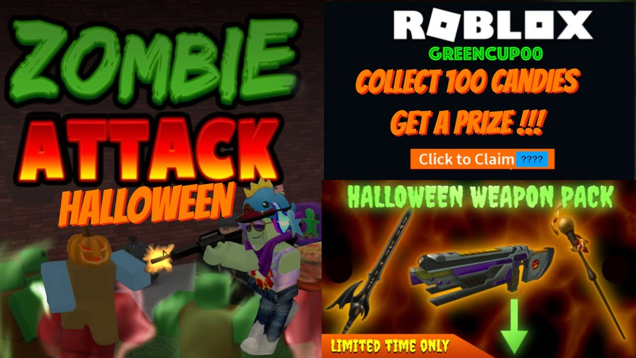 Roblox Zombie Attack 100 Candies Update Zombie Attack Halloween Edition 2020 Mystery Gift Roblox Youtube