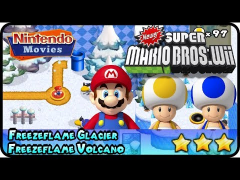 Newer Super Mario Bros. Wii - World 5 - Freezeflame Glacier & Volcano (100%, Multiplayer)