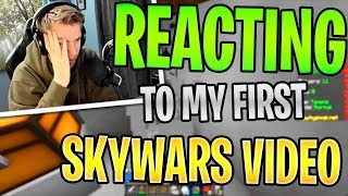 REACTING to my FIRST SKYWARS VIDEO (Hypixel Skywars)