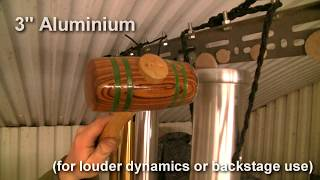 Bass chime tone comparisons - tubular bells of different materials and sizes by Matt Nolan