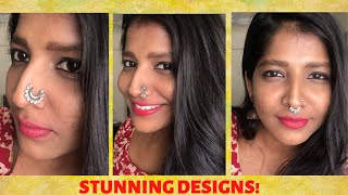 Oxidised silver press on nose pin nose stud for women Bollywood style Nose clip,Indian nose ring no piercing nosering Nose pin