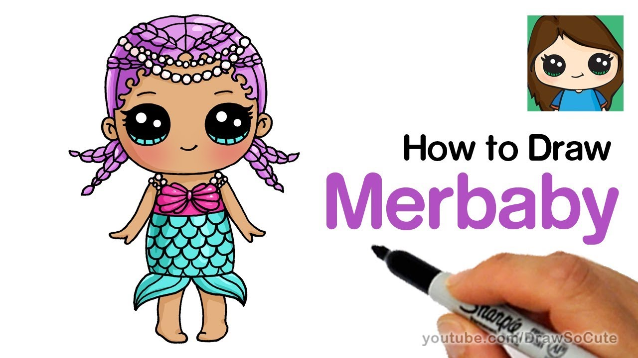 How To Draw Merbaby Easy | LOL Surprise Doll. Draw So Cute