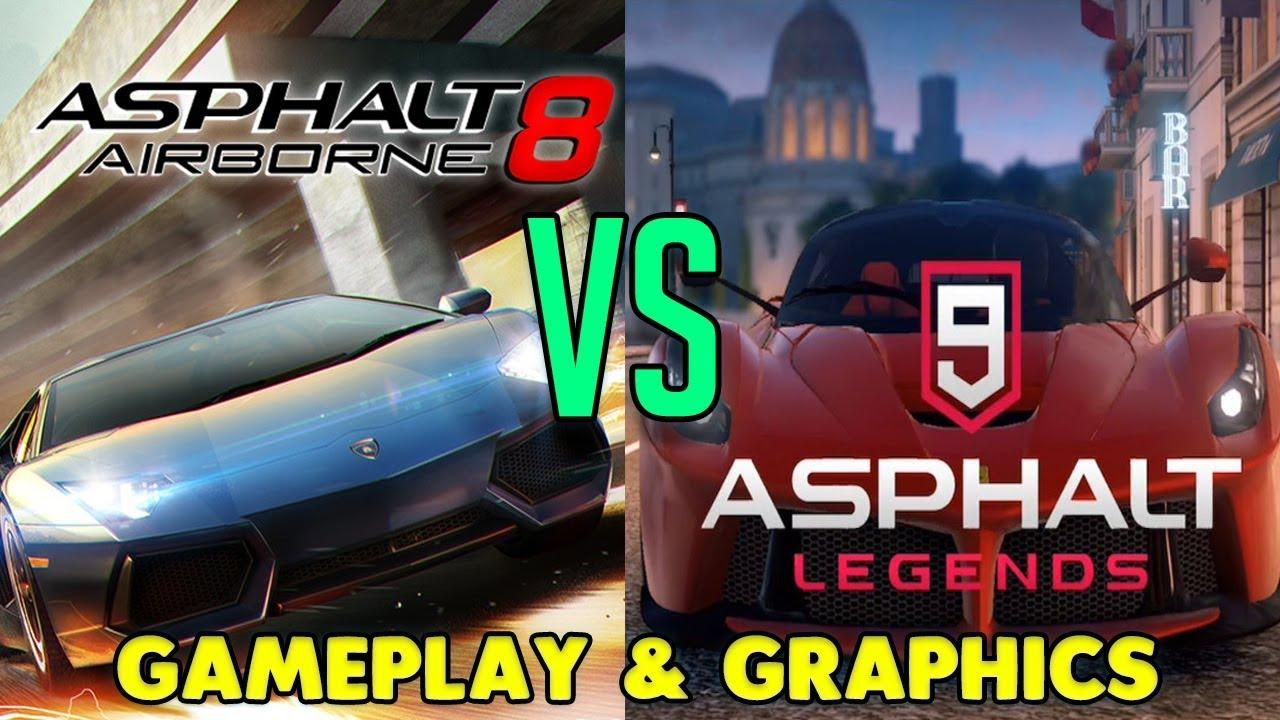 asphalt 8 vs asphalt 9 gameplay graphics comparison youtube