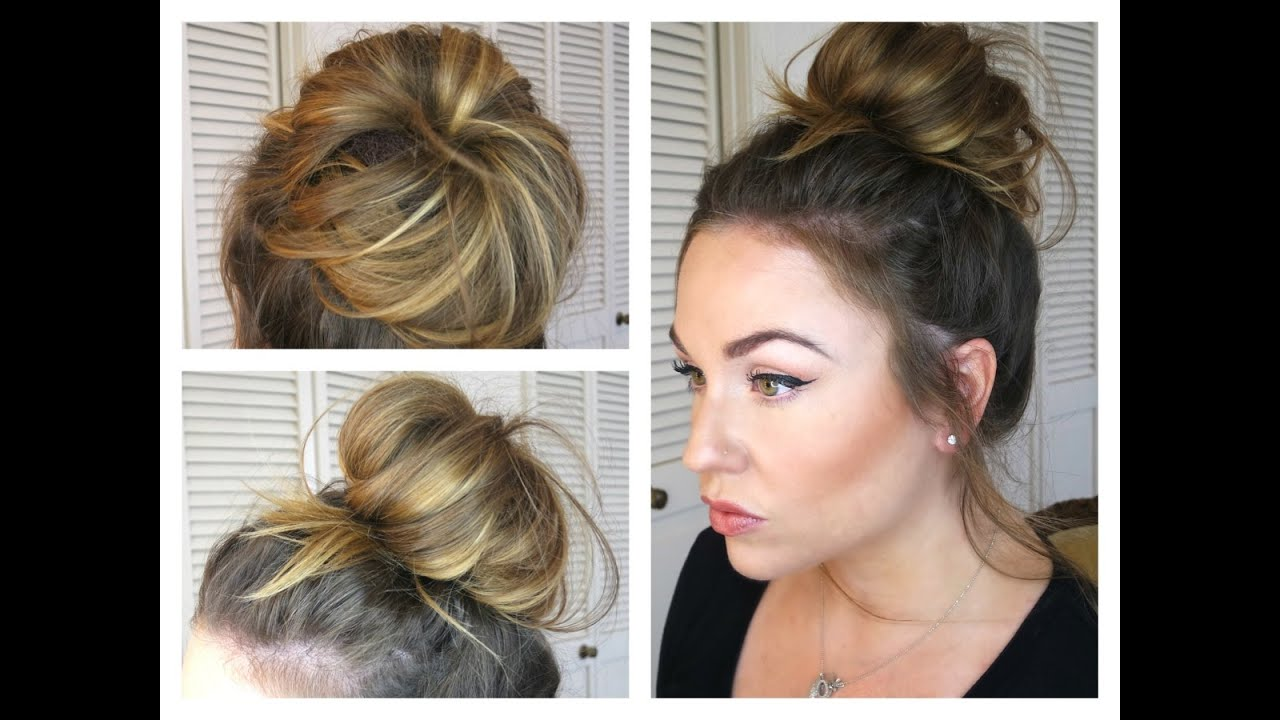 messy bun/topknot tutorial: how to get a big bun with fine hair!