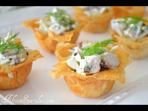 How to make your own phyllo cups youtube for Canape cup fillings