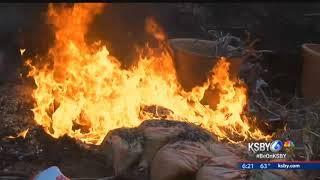 Fire retardant trucks help firefighters protect homes from Thomas Fire