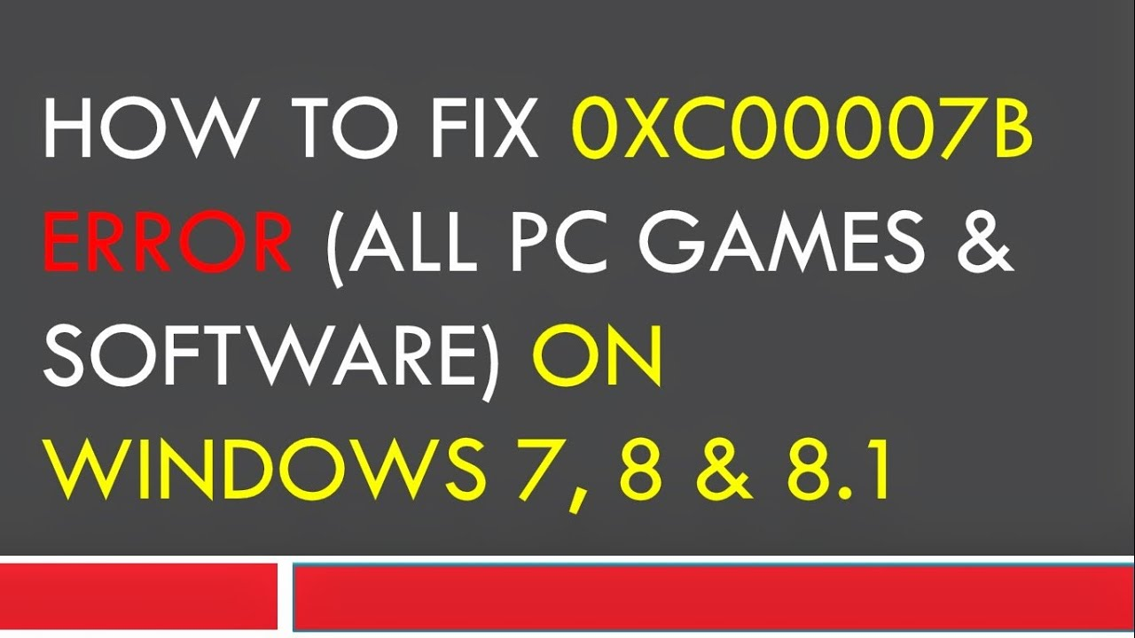 0xc B Error Fix If Nothing Worked For You Then Try This