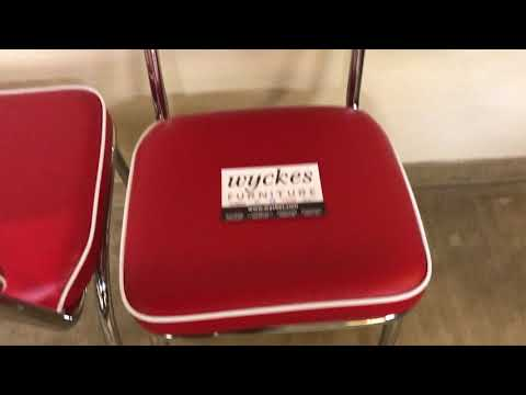 Coaster 2450R Red Retro & Chrome 50's Diner Style Dining Chair