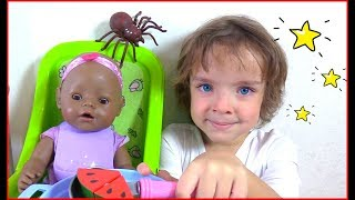Makar pretend play with doll &  Spider #2