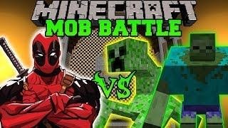 MUTANT CREEPER AND MUTANT ZOMBIE VS DEADPOOL - Minecraft Mod Battle - Mob Battles - Mutant Creatures