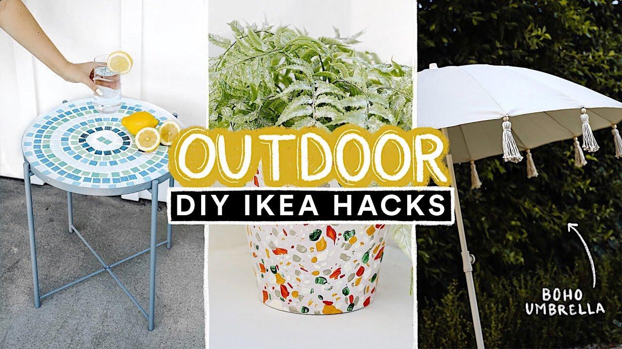 DIY OUTDOOR IKEA HACKS ☀️ Affordable DIY Decor + Furniture for Outside