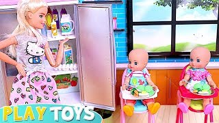 Barbie How to Make Breakfast for Baby Dolls with Tooth Ache! Tips for Happy Family! 🎀