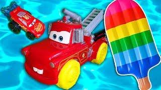 Учим цвета Цветное мороженное Молния Макквин и Метр Пожарный Машинки на море Развивающее видео детям