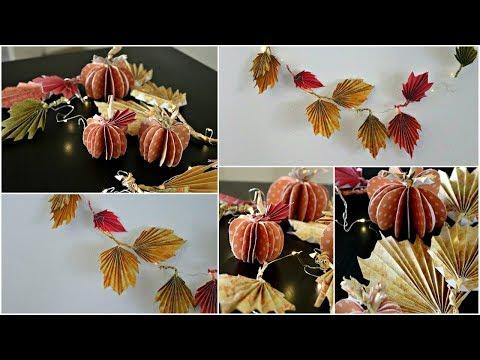 *DIY ROOM DECOR* Paper Pumpkins & Fall Leaves Decoration!