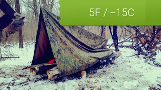 I slept in tąrp shelter at 5F (-15C) / Overnight survival tarp camping practice in winter