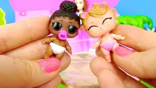 Куклы Лол Мультик! Барби Нянька для Пупсов Лол! Сюрпризы Лол от Бабушки для Вампирины