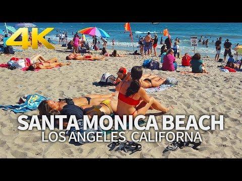SANTA MONICA - Walking Santa Monica Beach, Los Angeles, California, USA, Travel, 4K UHD
