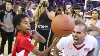 chris brown and miles brown spin basketball together