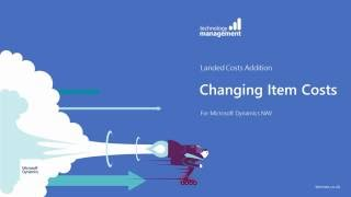 Landed Costs (An Addition for Microsoft Dynamics NAV) Part 2 Changing Item Costs