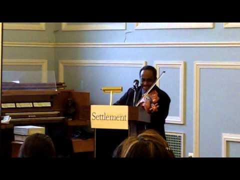 John Blake, Jr., jazz violin, performs an impromptu piece at Settlement Music School