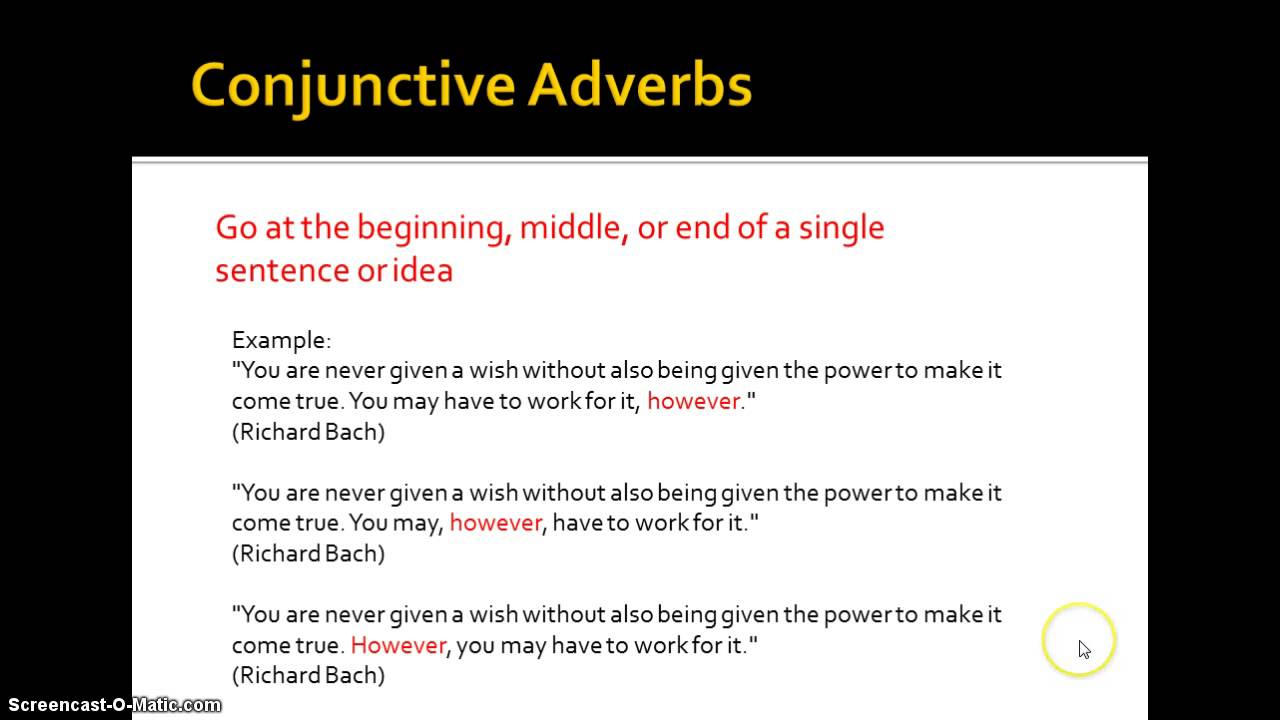 Signal Words And Conjunctive Adverbs Youtube