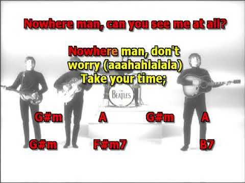 Nowhere Man Beatles best karaoke instrumental lyrics chords