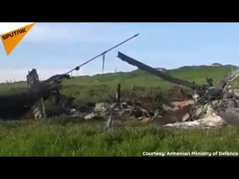 Footage of Downed Azerbaijani helicopter Mi-24 in Nagorno-Karabakh