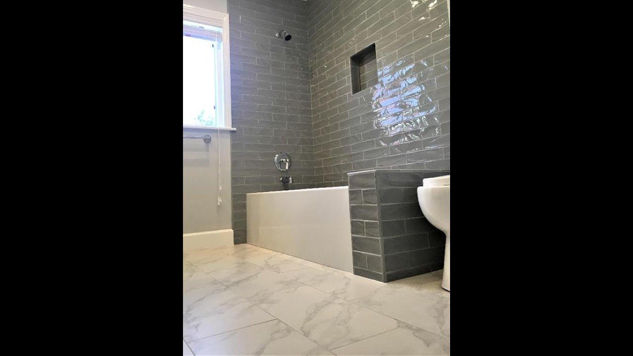 gray subway tile bath shower tile ideas ep 13