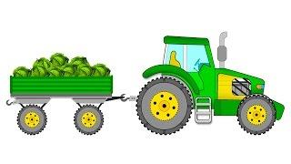 Мультики про машинки. ТРАКТОР собирает урожай. Развивающие мультики