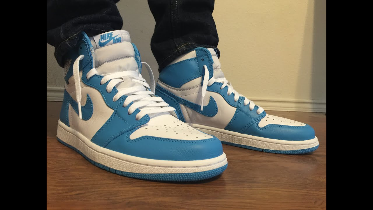 save off 34dbe cdf91 Jordan Retro 1 OG UNC powder blue unboxing and on feet review