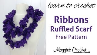 Red Heart Boutique Ribbons Ruffled Scarf & Product Review - Right Handed